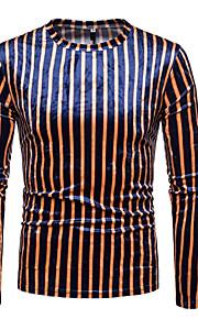 Муж. Футболка Круглый вырез Геометрический принт / Контрастных цветов Оранжевый L / Длинный рукав