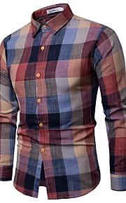 Муж. С принтом Рубашка Контрастных цветов / В клетку Красный L