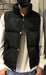 Ανδρικά Καθημερινά Βασικό Μονόχρωμο Κανονικό Veste, Πολυεστέρας Αμάνικο Χειμώνας Όρθιος Γιακάς Ρουμπίνι / Βαθυγάλαζο / Γκρίζο XL / XXL / XXXL