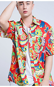 Hombre Algodón Camisa Geométrico Rojo M / Manga Corta