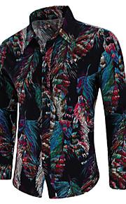 男性用 プリント プラスサイズ シャツ ヴィンテージ / ボヘミアン ワイドカラー ペーズリー コットン / 長袖
