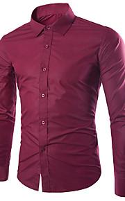 Hombre Negocios / Básico Trabajo Talla EU / US Algodón Camisa, Cuello Inglés Delgado Un Color Azul claro XL / Manga Larga / Otoño