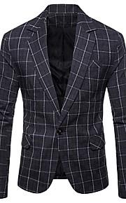 Hombre Blazer, A Cuadros / Cuadrícula Cuello Camisero Poliéster Gris Oscuro / Caqui / Gris Claro XL / XXL / XXXL