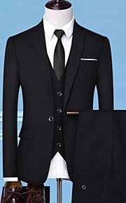 男性用 スーツ, ソリッド ピークドラペル ポリエステル ブラック / ルビーレッド / グレー XXL / XXXL / XXXXL