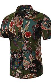 男性用 EU / USサイズ シャツ レギュラーカラー トライバル リネン