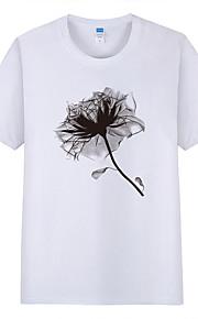 男性用 プリント Tシャツ フラワー