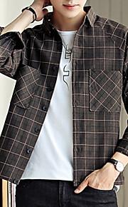 男性用 日常 秋 レギュラー ジャケット, ストライプ スタンド 長袖 ポリエステル グレー / ライトブラウン XL / XXL / XXXL