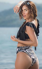 女性用 ベーシック ブラック 三角形 ハイウエスト タンキニ スイムウェア - カラーブロック バックレス ラッフル S M L ブラック