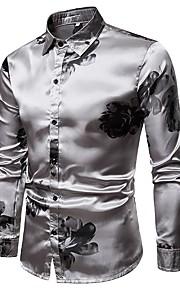 男性用 プリント シャツ ストリートファッション ソリッド