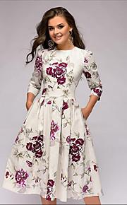 Жен. Классический А-силуэт Платье - Цветочный принт, С принтом Средней длины