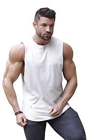 Ανδρικά Αμάνικη Μπλούζα Βαμβάκι Συνδυασμός Χρωμάτων Στρογγυλή Λαιμόκοψη Patchwork Λευκό XL