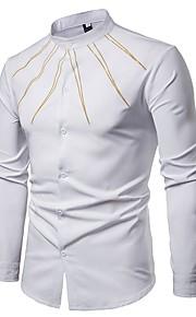 Hombre Chic de Calle Fiesta Estampado Camisa, Cuello Inglés Un Color Blanco L / Manga Larga