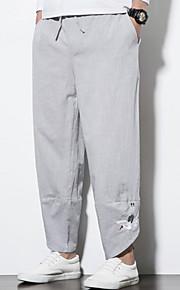 Hombre Tejido Oriental Chinos Pantalones - Un Color Wine