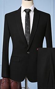 Hombre trajes Solapa Redonda Poliéster Negro / Gris XL / XXL / XXXL