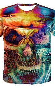 Hombre Estampado Camiseta Bloques / 3D / Cráneos Amarillo XXXXL