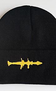 Unisex Prendas de punto Sombrero Floppy-Básico Un Color Negro
