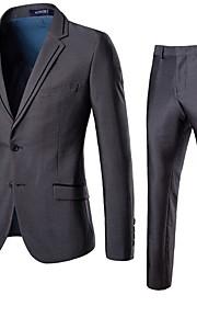 Hombre trajes, Un Color Solapa de Muesca Poliéster Gris XXXL / XXXXL / XXXXXL