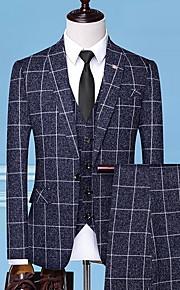 Hombre trajes Solapa de Pico Poliéster Blanco / Negro / Gris XL / XXL / XXXL