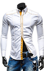 Hombre Camisa Un Color Blanco L