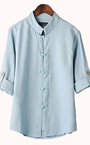 Муж. Сетка Рубашка Однотонный Темно синий XXL