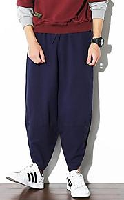 Hombre Chic de Calle Chinos Pantalones - Un Color Azul Marino