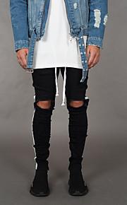 Hombre Básico / Chic de Calle Jogger Pantalones - Un Color Negro