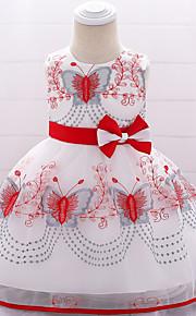 Dítě Dívčí Aktivní / Základní Jednobarevné / Květinový Mašle / Výšivka Bez rukávů Délka ke kolenům Bavlna / Polyester Šaty Světlá růžová