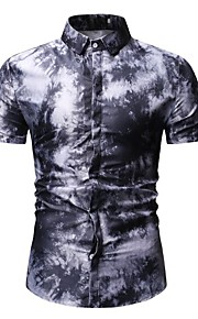 Hombre Camisa Geométrico Azul Piscina XL