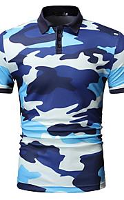 Herrn camuflaje Polo Druck Blau XL
