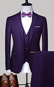 Hombre trajes, Un Color Cuello Camisero Poliéster Gris Claro / Azul Real / Lavanda XXL / XXXL / XXXXL
