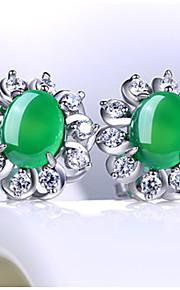 Dámské Zelená Kubický zirkon Emerald Cut Peckové náušnice S925 Sterling Silver Náušnice Vintage Sladký Šperky Tmavě zelená Pro Svatební Párty Denní 1 Pair