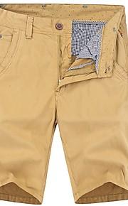 Hombre Básico Shorts Pantalones - Un Color Verde Trébol