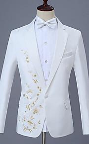 Hombre trajes, Floral Solapa de Pico Poliéster Blanco XXL / XXXL / XXXXL