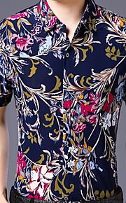 Heren Print Overhemd Bloemen Paars L