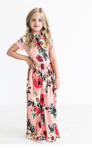 Děti Dívčí Sladký / Cute Style Květinový Tisk Krátký rukáv Maxi Bavlna Šaty Světlá růžová
