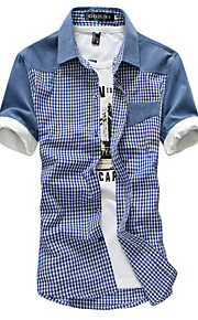 Skjorte Herre - Ensfarget / Fargeblokk, Lapper Blå XL