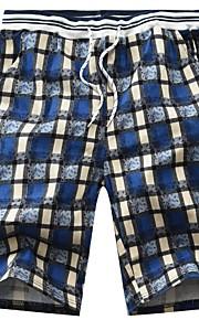 Hombre Básico Shorts Pantalones - Cuadros / A Cuadros Negro