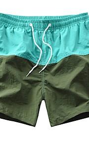 Hombre Básico Shorts Pantalones - Multicolor Verde Claro