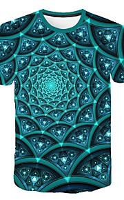 Hombre Talla EU / US Camiseta, Escote Redondo Delgado Geométrico Verde Trébol XXL