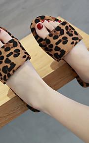 Dame Semsket lær Sommer Fritid Tøfler og flip-flops Flat hæl Åpen Tå Leopard