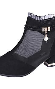 Naisten Silmukka Kesä Bootsit Paksu korko Musta