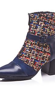 Naisten British Style Plaid-kengät PU Syystalvi Vintage / Englantilainen Bootsit Paksu korko Pyöreä kärkinen Säärisaappaat Musta / Sininen / Juhlat