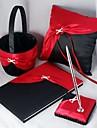 4 Set Colecţie Roșu / Negru Carte de Oaspeți / Set stilou / Pernuță inel / Coș de Flori