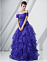 A-line printesa off-the-umăr lungime lungime Organza prom rochie cu flori de ts couture®