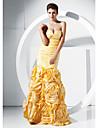 Trompetă / Sirenă Fără Bretele In Formă de Inimă Lungime Podea Tafta Bal Seară Formală Rochie cu Flori Ruching de TS Couture®