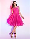 Linia -A Prințesă Bijuterie Lungime Genunchi Șifon Venire Acasă Rochie cu Mărgele Drapat Dantelă de TS Couture®