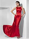 Linia -A Prințesă Bateau Neck Mătura / Trenă Charmeuse Bal Seară Formală Rochie cu Pliuri de TS Couture®