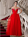 A-Line Off Shoulder Floor Length Chiffon Tulle Prom / Formal Evening Dress with Beading Ruched by TS Couture®