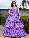 A-line rochie de mireasa printesa v-gât lungimea podelei taffeta prom quinceanera rochie cu beading de ts couture®