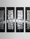 Pictat manual Abstract Orizontal,Clasic Tradițional Patru Panouri Hang-pictate pictură în ulei For Pagina de decorare